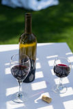 Red wine and bottle. Outdoors on a table Stock Photos