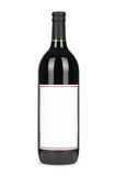 Red wine bottle, with paper blank label isolated on white Royalty Free Stock Photography