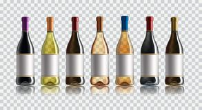 Red wine bottle. Set of white, rose, and red wine bottles. on white background. vector illustration
