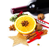 Red wine bottle and spices for Christmas Hot Mulled Wine on whit Stock Photo