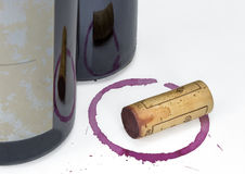 Red Wine Bottle Cork Glass Stain Royalty Free Stock Image