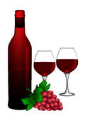 Red Wine Bottle Two Glasses and Bunch of Grapes Stock Photos