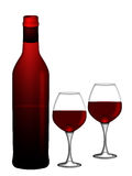 Red Wine Bottle and Two Glasses White Background Royalty Free Stock Photo