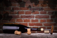 Red wine and a bottle  Royalty Free Stock Image