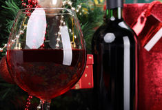 Red wine and bottle Royalty Free Stock Image