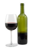 Red wine bottle and wine glas Stock Image
