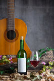 Red wine bottle and wine glass Stock Photos