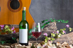 Red wine bottle and wine glass Stock Images