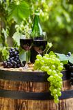 Red wine bottle and wine glass on wodden barrel. Beautiful Tuscany background.  stock images