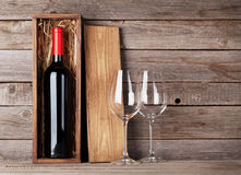 Red wine bottle and wine glasses Royalty Free Stock Photo
