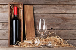 Red wine bottle and wine glasses Royalty Free Stock Photography