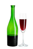 Red wine bottle and wineglass Royalty Free Stock Photos