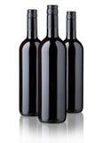 Red wine bottles. Three bottles of red wine label design Stock Photos