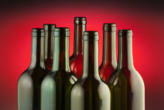 Red wine bottles Stock Images