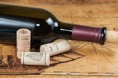Red wine bottles with corks Royalty Free Stock Photography