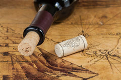 Red wine bottles with corks Stock Images