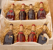 Red wine bottles Stock Image