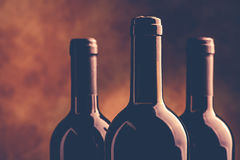 Red wine bottles vintage style photo Royalty Free Stock Images