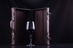 Red wine and box Royalty Free Stock Photography