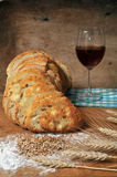 red wine and bread Stock Images