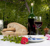 Red Wine, Bread and Carnation Royalty Free Stock Photos