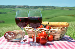 Red wine, bread and tomatoes Stock Photography