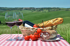 Red wine, bread and tomatos Stock Image