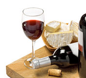 Red wine, Brie and Camembert cheeses. On the wood surface, , white background, studio shot Stock Photography