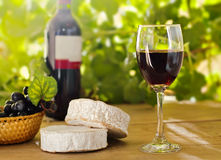 Red wine, Brie, Camembert and grape. On the wood surface, outdoor Stock Images