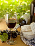Red wine, Brie, Camembert and grape. Red wine, Brie and Camembert cheeses with grape on the wood surface, outdoor Royalty Free Stock Photo