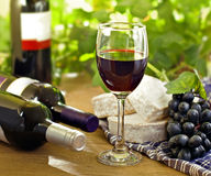 Red wine, Brie, Camembert and grape Stock Image