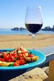 Red Wine and Bruschetta stock photos