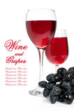 Red wine and bunch of grapes Royalty Free Stock Photography