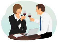 Red wine. Business people are holding goblets of red wine. They are celebrating a successful deal Royalty Free Stock Photos