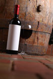 Red wine in cellar Stock Image