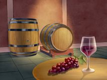 Red wine cellar royalty free illustration