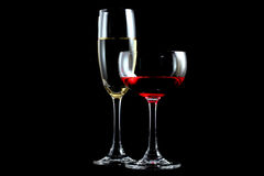Red wine and champagne Royalty Free Stock Photography