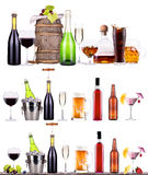 Red wine, champagne, beer, alcohol cocktail. Red wine, champagne,beer,alcohol cocktail with corkscrew,grape,Blue berrie, ice bucket on a vintage wooden table royalty free stock photos