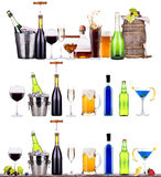 Red wine, champagne, beer, alcohol cocktail Stock Images