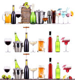 Red wine, champagne, beer, alcohol cocktail Stock Photography