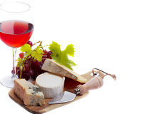 Red wine with cheese Royalty Free Stock Image