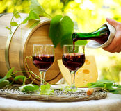 Red Wine and Cheese. Romantic Lunch Outdoor Stock Photo