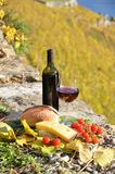 Red wine, cheese, bread Royalty Free Stock Images