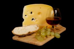 Red wine, cheese, bread, grape Stock Photo