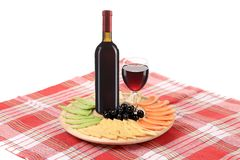 Red wine and cheese composition on table. Royalty Free Stock Photos