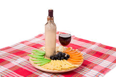Red wine and cheese composition. Royalty Free Stock Photo