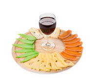 Red wine and cheese composition. Stock Photo