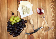 Red wine, cheese and grape Stock Image