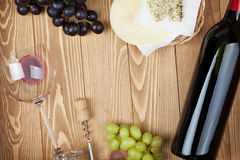 Red wine, cheese and grape Stock Photo