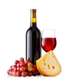 Red wine with cheese and grapes Royalty Free Stock Images